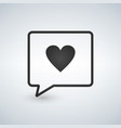 love black chat icon with heart vector image vector image