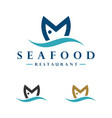 m letter fish logo template design eps 10 vector image