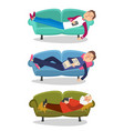 man sleep on sofa sleeping vector image vector image