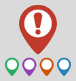 map pointer with attention sign on grey background vector image vector image