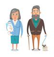 mature grandparents favourite pets grandpa granny vector image vector image
