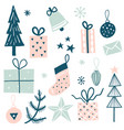 merry christmas set with decorative winter element vector image vector image