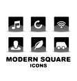 Modern glossy black square icon set vector image