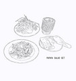 papaya salad or som-tum with grilled chicken and vector image vector image