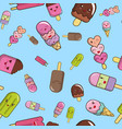 pattern from ice cream on a blue background vector image
