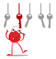Red monster finds the right key vector image vector image