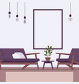 retro interior with a wall frame for copyspace vector image