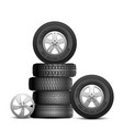 rubber tires isolated realistic car wheels aito vector image vector image