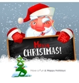 Santa with blackboard and fir tree vector image