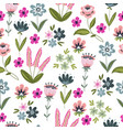 seamless pattern with hand drawing doodle flowers vector image vector image