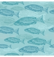 seamless pattern with sketches of fish on vector image vector image