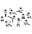set of black and white japenise warriors images in vector image