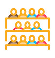 student class at desks icon outline vector image
