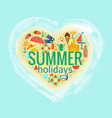 summer holidays heart poster vector image vector image