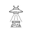 thin line black ufo with house vector image