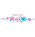 valentines banner sale promo with heart paper cut vector image vector image