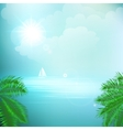 View of tropical sea between the palm trees under vector image vector image
