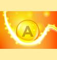 vitamin a gold shining pill capcule icon vitamin vector image vector image