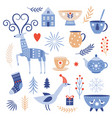 winter collection flat cartoon style vector image vector image