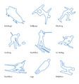 winter sports line icon set 1 vector image