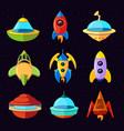 cartoon fantastic ufo spaceships and vector image