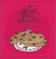 nut cookies with chocolate chips on lacy napkin vector image