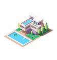 3d isometric big house with modern design and pool vector image vector image