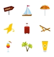 Attractions of Miami icons set flat style vector image vector image