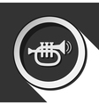 black and white round with trumpet icon vector image vector image