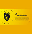 black bear head icon isolated on yellow background vector image vector image