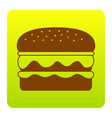 burger simple sign brown icon at green vector image vector image