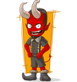 Cartoon young devil in grey shorts vector image vector image