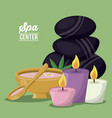 color poster of spa center with set of volcanic vector image vector image