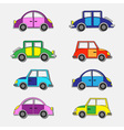 colorful retro cars stickers vector image