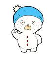 comic cartoon waving polar teddy bear in winter vector image