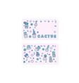 compositon of doodle cactus design set vector image