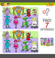 find differences game with robots fantasy vector image vector image