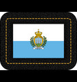 flag of san marino icon on black leather backdrop vector image vector image