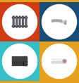 flat icon plumbing set of drain tube heater and vector image vector image