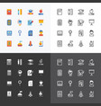 flat icons set education school tools outline vector image