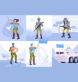 flat peacekeepers composition icon set vector image