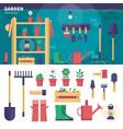 gardening equipment in the garage vector image vector image