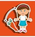 girl cartoon carrot vegetable organic vector image vector image