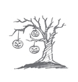Hand drawn Halloween pumpkin faces hanging on tree vector image vector image