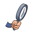Hand holding a loupe vector image