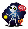 happy cartoon skeleton walking with lantern and vector image vector image