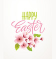 happy easter handwriting lettering on background vector image vector image