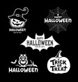 happy halloween party black and white design set vector image vector image