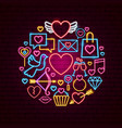 happy valentines day neon concept vector image vector image