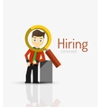 Hiring flat design concept Man and magnifying vector image